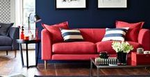 Red & Blue - Colour Couples / Colour coupling in interiors red and blue. Traditionally nautical, New England, Coastal or Seaside pairing, but coming in strong now we all love colour again.