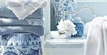 Blue and White - Colour couples / The colours blue and white as paired in interiors and homes. using paint and fabric and furniture, inspiration on pairing this calming combination.