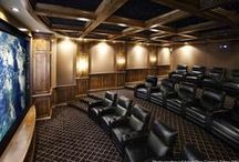 Home Theater Rooms/Seating / Enjoy the full recline capabilities with power motion and storage in arms consoles. Available in a myriad of colors in leather or fabrics.