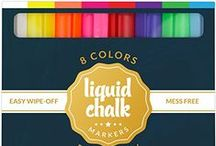 Liquid Chalk Markers by Ander Blake Company / What's more fun than a liquid chalk marker that can write and create beautiful art on ANY non-porous surface?!