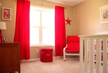 HOME SHOW / Photos of red, white and beige nursery, kids' bathroom remodel with red paint, DIY board and batten trim and black and white checkered floor on a diagonal, black and white kitchen remodel with painted cabinets and gray walls, dining room remodel, and DIY nursery art.