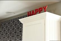DIY KITCHEN / Painted kitchen cabinets, DIY island bar, gray kitchen walls, DIY pelmet box window treatments, Ikea barstool facelift