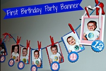 PUPPY DOG TAILS PARTY / Red and Blue party decorations, Puppy dog tails cake, First birthday party banner, Number Onesie Stickers, Painted puppy masks, Party supplies in paint cans