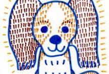 Dog&Cat / 犬と猫のキャラクター風イラストです。
