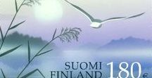 Suomi = Finland =>  mail and money / stamps, postcards, letter, mailboxes... money and medals