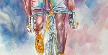 Cycling posters and illustrations etc and bikes / wheeling