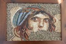 Mosaics / Handmade mosaics with natural stones, ceramic and glass tessarae. They all have  wooden background and wooden frame, all handcrafted, ready to hang on the wall.