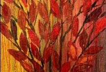 TREES AND LEAVES / Acrylic and oil paintings
