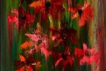 FLOWERS / Acrylic and oil paintings