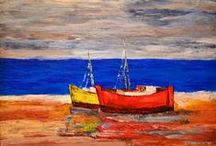 SHIPS AND BOATS / Acrylic and oil paintings