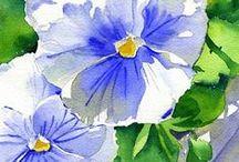 Bratki pansy / Watercolor paiting