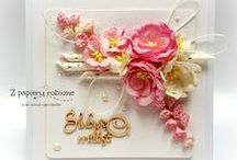 kartki ślubne, kartki z okazji ślubu / tablica ze zdjęciami kartek ręcznie robionych z okazji ślubu
