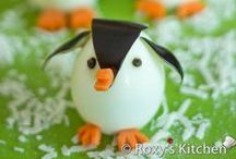 Penguin shaped foods / All kinds of foods, made to look like penguins. Great for a fun lunch or an undersea party