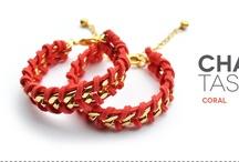 chaintastic / pulseras de cadena trenzadas con gamuza de color / rope wrapped chain bracelet