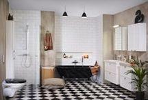 Industri-lantligt badrum / Tack vare vårt breda sortiment kan du skapa ett badrum med personlig prägel. Här visar vi ett mellanstort, trendigt badrum med indsutri-lantlig inredning. Produkterna kommer från våra badrumsserier.