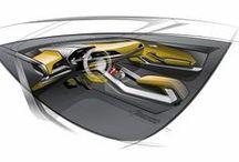 Car interior - Interni auto / car interior sketches rendering formal research
