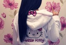 HELLO KITTY FASHION / HELLO KITTY/CUTE/BOWS/LOVELY/PINK/DOTS/GLASSES/LOLITA/CAT/SWEATERS/TOPS/COLOR