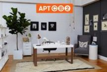 APT CB2: OFFICE / Welcome to the APT CB2 Office! On May 8, 2014, I partnered with CB2 to create the first real apartment designed live on Pinterest! You picked from my pins and we put together an office created by thousands. With this workspace my goal was to keep it clean, neutral and minimalist, with a patterned wallpaper that adds visual interest to the room.  / by Caitlin Flemming