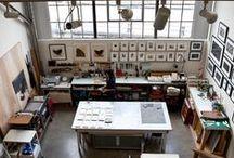 Ateliers,bureaux,fournitures / Lieux de travail et trésors qui s'y trouvent  / by estelle girard