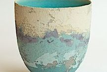 Clare Conrad / Clare Conrad potter ceramicist layering vitreous slip wheel-thrown pots vessels vases bowls texture for sale
