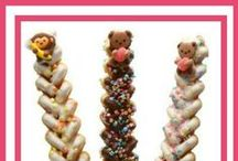 Cake Decorations and Toppings / All kinds of clever toppings and decorations for cakes, cupcakes, cookies - even Waffles on a Stick.