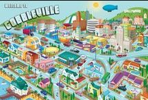 Gobbleville U.S.A. / Gobbleville is a small town where the characters are turkeys who behave like people. The suburban landscape sets the stage for the citizens of Gobbleville to live and work. They attend barbecues, fairs, festivals and parades in a homespun environment.
