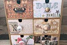 Cajones organizadores / Cajoneras decoradas con scrap