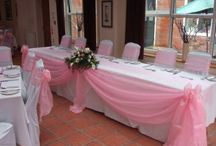 Table linen / Table linen inspiration including table runners, top table swagging, cake table swagging and fairy lights for weddings, parties and special occasions by affinity event decorators, Swansea, Wales