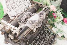 Vintage wedding theme / Vintage wedding theme inspiration.  Typewriters, bicycles, picnic baskets, suitcases, logs, mason jars, lace, hessian, burlap. Inspiration board for weddings, parties and special occasions by affinity event decorators, Swansea, Wales