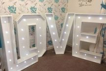Illuminated letters / Illuminated letters and words. Props for weddings, parties and special occasions. Affinity event decorators, swansea, Wales