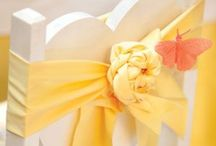 Yellow themed wedding or party / Yellow themed ideas and inspiration for weddings, parties and special occasions. Centrepieces, lemons, vases, chair covers, candy carts, daffodils, roses, buttercups. Affinity event decorators, swansea, wales