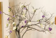 Manzanita and wishing tree wedding centrepieces / Ideas and inspiration for manzanita and twig trees for centrepieces at weddings, parties and special occasions. Also used as wishing trees for an alternative guest book. Affinity event decorators, swansea, wales