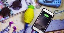PIÑA Pineapple Power bank / If you like pineapples and keeping your phone charged up the Piña power bank is for you! Cute pineapple power bank. Tech accessory. Fun pictures of pineapple power bank in action.