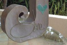 "Signature INITIALS / 3D Initials embossed with the signature of the recipient (16"" x 12"" x 3""d). #Initials #Letters #Gifts #signatures #papier mâché art  #Jane Lillico Art #www.janelillico.com"