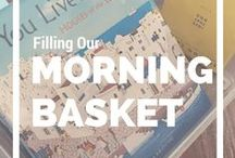 Homeschool Morning Gathering / Ideas, tips, materials for Homeschool Morning Gathering-organized, efficient way to start your homeschool morning.  Some call it morning basket-others morning meeting.  Whatever you call it, get the resources & information you need here!