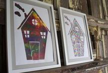 Rainbow Silhouettes and Pencil Embossed Trios / These framed and ready to hang delight are reasonable priced $80 AUD for an individual or $219AUD for the trio, postage and handling dependent on your locale. All are original and freshen any space immediately.