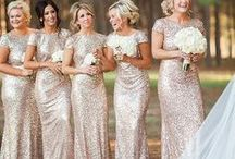 Bridesmaids / Bridesmaid fashion including gowns, bouquets, shoes, accessories.