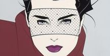 Patrick Nagel (1945-1984) / Patrick Nagel (November 25, 1945 – February 4, 1984) was an American artist. He created popular illustrations on board, paper, and canvas, most of which emphasize the female form in a distinctive style descended from Art Deco. He is best known for his illustrations for Playboy magazine and the pop group Duran Duran, for whom he designed the cover of the best-selling album Rio.