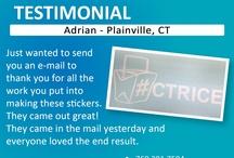 Testimonials / Client Testimonials - Email your testimonial to clientcare@sdsticker.com