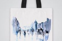 """Artollo Tote Bags / Art tote bag never goes out of style! This quality designer printed tote bag is individually cut, hand sewn with double layer for durability, with wide (1,5"""") cotton strap for carrying on your shoulder."""