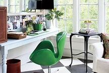 Home Office / Craft Room / #HomeOfficeIdeas for better #productivity. Home Office Interior Design Ideas –Technology allows us to work from home so the home office design is very important. Great Office supplies, Office Ideas, Organization, Interior Design, #interiordesigner , Office gifts, desk accessorizes, lighting and seating.... and of course the essential STYLE.