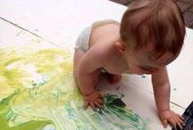 Art Activities for Baby! / It is never too early to get your kids interested in art! Some of the best paintings come from the little hands. We encourage all parents to let their babies create! We love taking these very personal pieces and making them into lasting memories. Our custom rugs are made of art done by babies, children and adults!