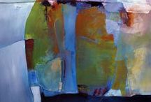 Heather Duncan / Heather's paintings take inspiration from landscape, music and poetry, and from memories.  Each painting is drawn from a stream of consciousness, often starting in landscape but moving away from representation and becoming more abstract and expressive.  The free covering of the white canvas with washes of colour, govern the direction of the painting; experiences and observations become filtered and imprinted upon the picture plane over time. - www.kelliemillerarts.com