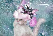 Cat In Fancy Hat Art