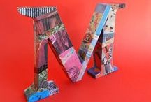 Drap Art Sabon Letters / Handmade letters made with upcycled cardboard and decorated with newspapers and découpage glue.
