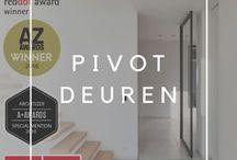 Pivoterende deuren / Afbeeldingen van pivoterende deuren op maat. De innovatieve pivot scharnieren van Anyway zijn uitgerust met een comfortsluiting, kunnen instelbaar in één of beide richtingen opendraaien en blijven op 90° geopend. Er dient niets in de vloer ingewerkt te worden dus het systeem kan zowel bij renovatie als nieuwbouw toegepast worden. De pivotdeur kan met diverse omlijstingen uitgerust worden zodat een perfecte afsluiting ook gegarandeerd wordt. Meer informatie op http://www.anywaydoors.be