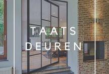 Taatsdeuren / Inpiratiebord met taatsdeuren op maat van Anyway Doors. De innovatieve taatsscharnieren worden onzichtbaar in het deurblad geïntegreerd, zonder inbouwelementen in de vloer of plafond! Kunnen naar wens met of zonder kozijn geplaatst worden.