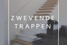 Zwevende trappen / Een zwevende trap blijft tot de verbeelding spreken omdat de zwevende treden lijken te balanceren in de open ruimte. Dergelijke trapconcept creëert een licht en ruimtelijk effect in een modern en hedendaags interieur.