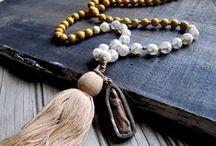 Wooden boho hippie pearls