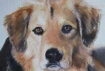 Dog Portraits / Watercolor paintings by commission artist Cynthia Klassen